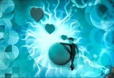 caractère 3d avec la terre d'amour et l'illustration de bulle de coeur Photos stock