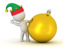 caractère 3D avec le chapeau d'Elf ondulant par derrière le Golden Globe Photo stock