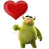 caractère 3D avec le coeur - pour le message d'amour Photo libre de droits