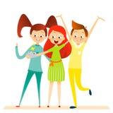 Caractère d'enfants de bande dessinée Les enfants sourire, font le selfie Images stock