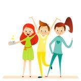 Caractère d'enfants de bande dessinée Les enfants sourire, font le selfie Photos libres de droits