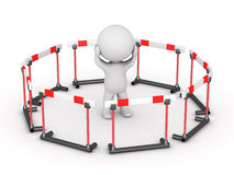 caractère 3D entouré par des barrières Image libre de droits