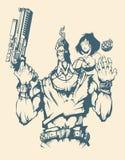 Caractère d'homme armé avec la femme Image stock