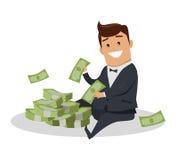 Caractère d'homme avec l'illustration de vecteur d'argent illustration de vecteur