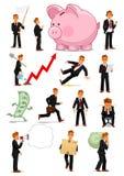Caractère d'homme d'affaires dans différentes situations réglées illustration stock