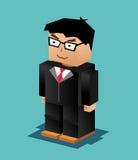 Caractère d'homme d'affaires Illustration d'homme d'affaires fonctionnement blanc d'ordinateur portatif de portable d'homme d'aff Photos stock