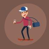 Caractère d'homme de hippie Équipez la planche à roulettes d'équitation avec la tasse de papier et le smartphone de café illustration libre de droits