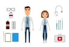 Caractère d'homme et de femme de personne de médecine Style d'appartement et de bande dessinée Illustration de vecteur Fond blanc Images stock