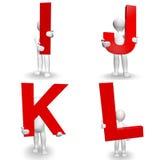 caractère 3D humain tenant I à marquer d'une pierre blanche, J, K, L, illustration libre de droits
