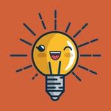 Caractère d'idée de lumière d'ampoule grand Photos stock