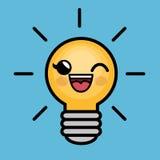 Caractère d'idée de lumière d'ampoule grand Image stock