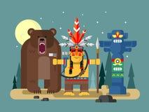 Caractère d'Injun avec l'ours Photo libre de droits