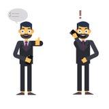 Caractère d'Isolated d'homme d'affaires sur le blanc avec le téléphone Images libres de droits