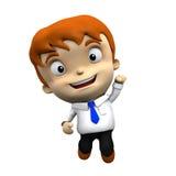 caractère 3d - l'homme d'affaires saute, célèbre, avec le masque de coupure Illustration de Vecteur