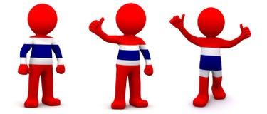 caractère 3d texturisé avec le drapeau de la Thaïlande Image libre de droits