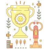 Caractère dans le style de bande dessinée avec la tasse d'or souriante pour des gagnants Photos stock