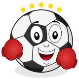 Caractère de ballon de football avec des gants de boxe Photographie stock