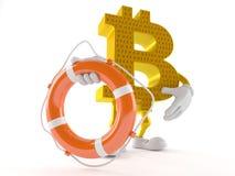 Caractère de Bitcoin tenant la balise de vie Illustration de Vecteur