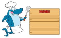 Caractère de Blue Shark Cartoon de chef léchant ses lèvres et tenant une spatule sur le conseil vide en bois avec le menu des tex illustration stock