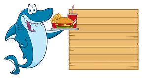 Caractère de Blue Shark Cartoon de chef léchant ses lèvres et tenant une spatule sur le conseil vide en bois avec le menu des tex illustration de vecteur