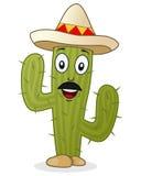Caractère de cactus avec le chapeau mexicain Photographie stock libre de droits
