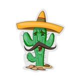 Caractère de cactus de bande dessinée Photos stock