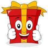 Caractère de cadeau de bande dessinée avec des pouces  illustration de vecteur