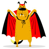 Caractère de chien de Halloween dans le costume du vampire Masque de batte d'horreur illustration de vecteur