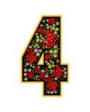 Caractère de 4 chiffres dans le style russe Le style de Khokhloma sur la police Un symbole dans le style d'une poupée russe sur a Images stock
