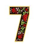 Caractère de 7 chiffres dans le style russe Le style de Khokhloma sur la police Un symbole dans le style d'une poupée russe sur a Photo stock