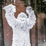 Caractère de conte de fées de yeti en photo extérieure d'imagination de forêt d'hiver images stock