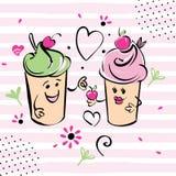 Caractère de crème glacée de fille et de garçon et cerise, coeurs, rayures roses Le garçon donne la cerise à la fille Blanc noir Photo libre de droits