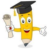 Caractère de crayon avec le chapeau d'obtention du diplôme Photos stock
