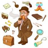 Caractère de détective privé illustration de vecteur