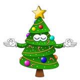 Caractère de détente de méditation d'arbre de Noël de Noël heureux d'isolement illustration de vecteur