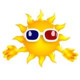 caractère de 3d Sun portant les lunettes 3d Photographie stock
