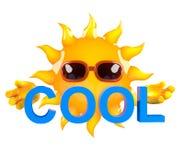 caractère de 3d Sun tenant le mot illustration de vecteur