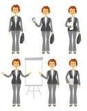 Caractère de directeur ou ensemble femelle de femme d'affaires Différentes poses d'isolement sur le fond blanc Femme dans des pan illustration libre de droits