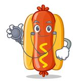 Caractère de docteur Hot Dog Cartoon Image stock
