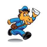 Caractère de facteur de cheval fournissant le courrier Photo libre de droits