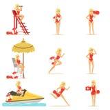 Caractère de femme de maître nageur réalisant son travail Illustrations de vecteur de délivrance de l'eau Photographie stock