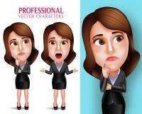 Caractère de femme professionnelle avec l'équipement d'affaires pensant ou confus illustration de vecteur