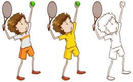Caractère de griffonnage pour le joueur de tennis illustration de vecteur