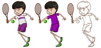 Caractère de griffonnage pour le joueur de tennis masculin illustration de vecteur