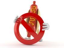 Caractère de hot-dog avec le signe interdit Photographie stock