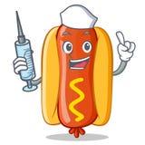 Caractère de Hot Dog Cartoon d'infirmière Photos stock