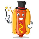 Caractère de Hot Dog Cartoon de magicien Photographie stock libre de droits