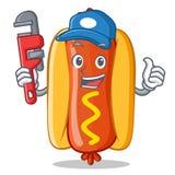 Caractère de Hot Dog Cartoon de plombier Image libre de droits