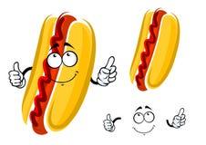 Caractère de hot-dog de bande dessinée avec le ketchup Photographie stock libre de droits