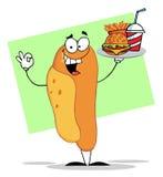 Caractère de hot-dog servant les aliments de préparation rapide sur un plateau illustration libre de droits